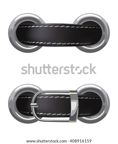 Leather belt passed through metal rings on a white background, illustration