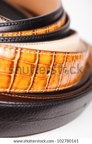 leather belts close up - stock photo