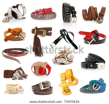Leather belts isolated on the white - stock photo