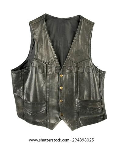 Leather biker jacket vest buttoned  - stock photo