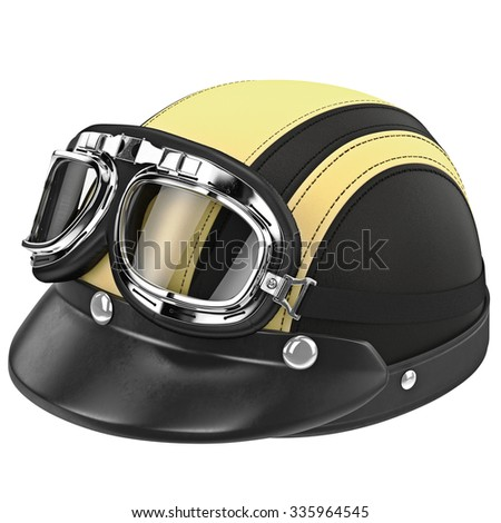 Leather biker motorcycle helmet with goggles. 3D graphic object on white background isolated