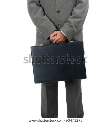 leather black briefcase in the businessman's hand - stock photo