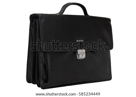 leather black briefcase isolated on a white background