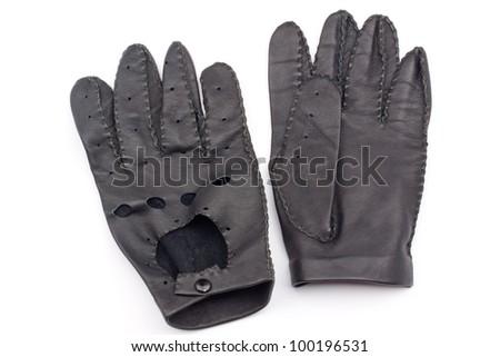 leather black race gloves - stock photo