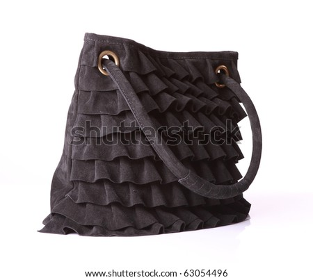 leather black suede bag - stock photo