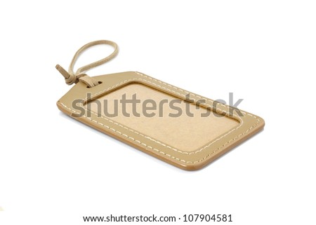 Leather Blank Tag Isolated On White Background - stock photo