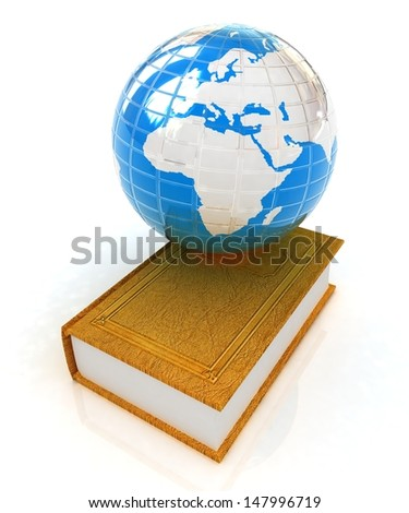 Leather books and earth on a white background