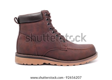 leather boot on white background