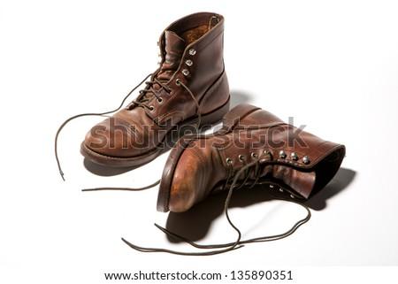 Leather Boots Iron Ranger Style - stock photo