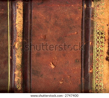 Leather bound book binding - stock photo