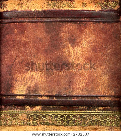 Leather bound book detail