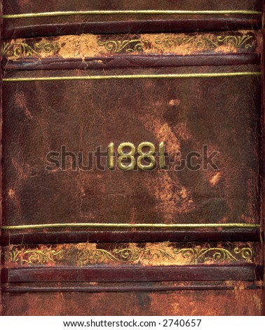 Leather bound book from 1881 - stock photo