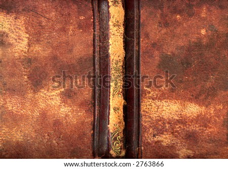 Leather bound book spine - stock photo