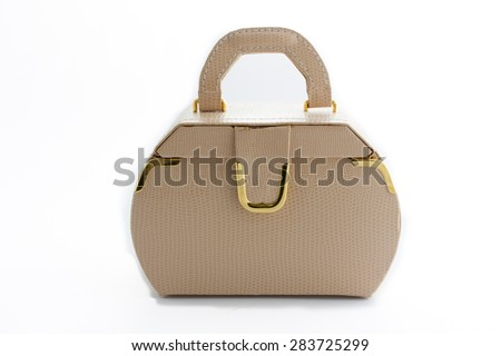 Leather box for cosmetic or jewelery on white background