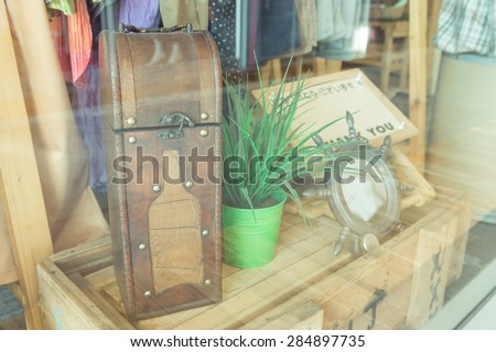 Leather box  for whiskey decoration on wood box  , grass filter - stock photo