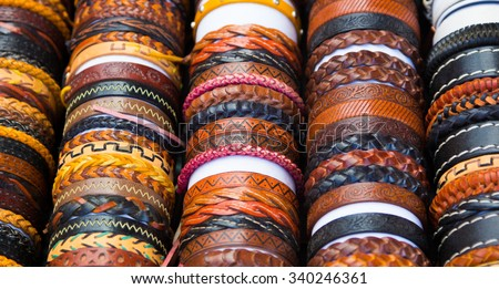 leather bracelets with different shapes and colors - stock photo