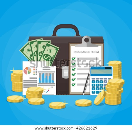 Leather briefcase, money cash, financial reports, insurance contract claim form, calculator, pen, stacks of gold coins. Business insurance concept. illustration in flat design - stock photo