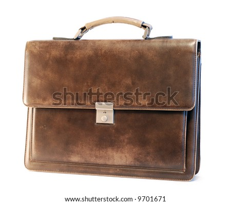 Leather briefcase of a businessman