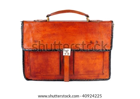 leather briefcase on the white background