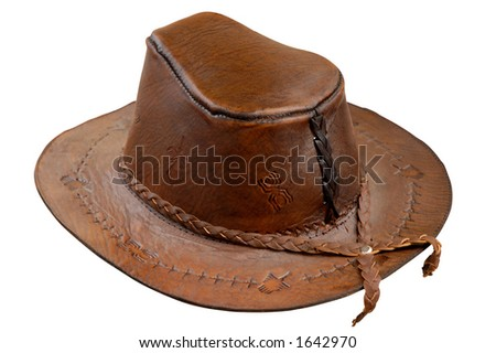 Leather brown cowboy hat isolated on white with clipping path