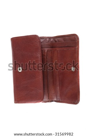 Leather brown purse with fasteners for storage of money