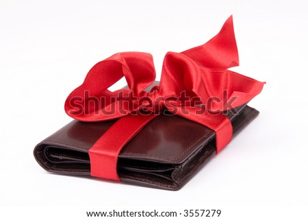 Leather brown wallet gift with big red bow