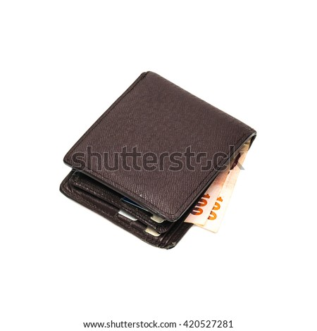 Leather brown wallet with money isolated on white background