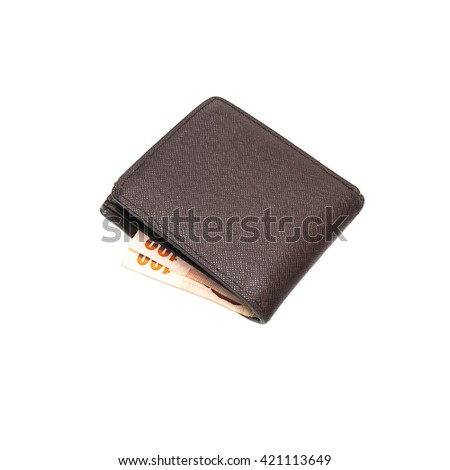 Leather brown wallet with money isolated on white background - stock photo
