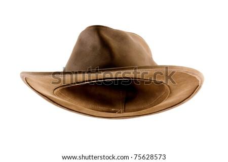 Leather bush hat isolated on white - stock photo