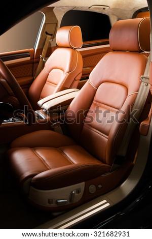 Leather car seat close up photo - stock photo