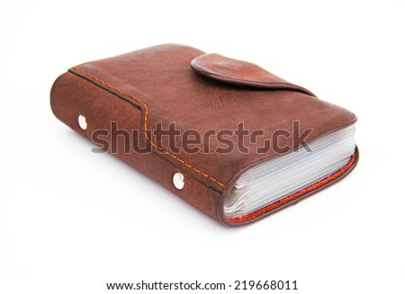Leather card holder wallet isolated white background  - stock photo