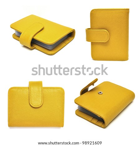 leather cards holder set on a white background - stock photo