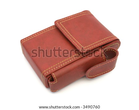 Leather case for pack of cigarettes, isolated on white background