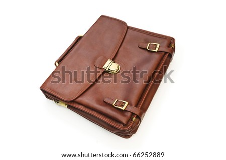 Leather case isolated on the white background - stock photo