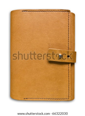 leather case notebook isolated on white background