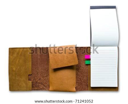 leather case notebook isolated on white background - stock photo