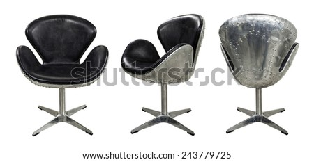 Leather chair isolated on white.  - stock photo