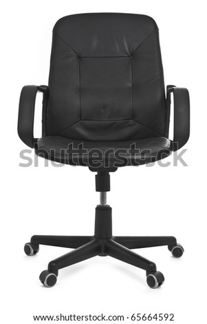 leather chair on white background, minimal natural shadow under it - stock photo