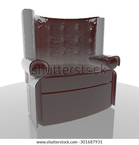 Leather chesterfield armchair, white background, 3d render, square image - stock photo