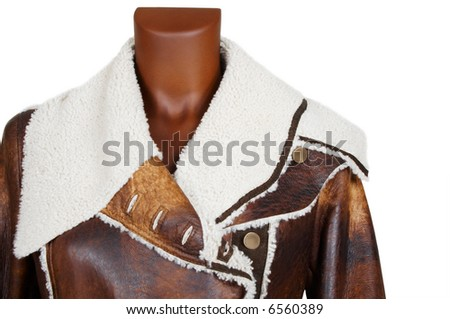 Leather coat with a fur collar on a white background