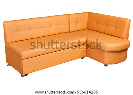 Leather Corner Sofa With Storage, light brown  colored,   isolated on white background,  include clipping path.