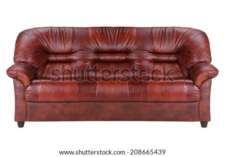 leather couch isolated on white - stock photo