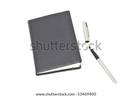 Leather cover agenda isolated in white and pen - stock photo