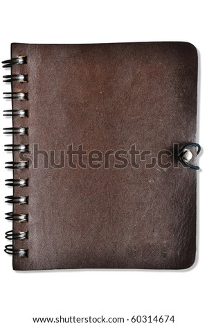 Leather Cover Notebook - stock photo