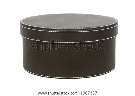 Leather covered hat box - stock photo