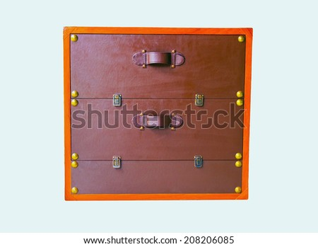 leather-covered wooden drawer - stock photo