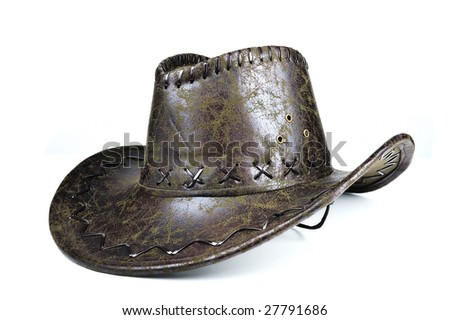 Leather Cowboy hat - stock photo