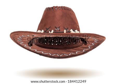 Leather cowboy hat isolated on white background - stock photo