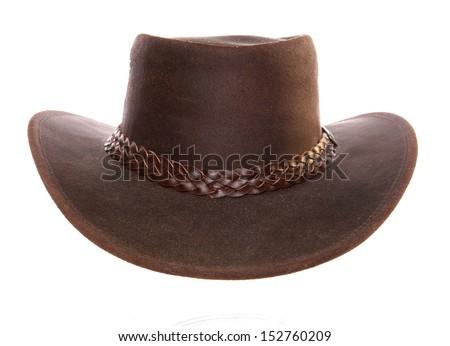 Leather Cowboy Hat studio cutout - stock photo