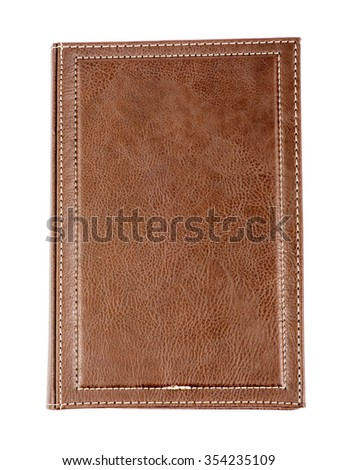 Leather daily planner on isolated white background - stock photo